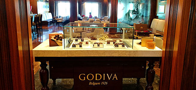 Sir Samuel's serves coffee and tea alongside delicious Godiva confectionery